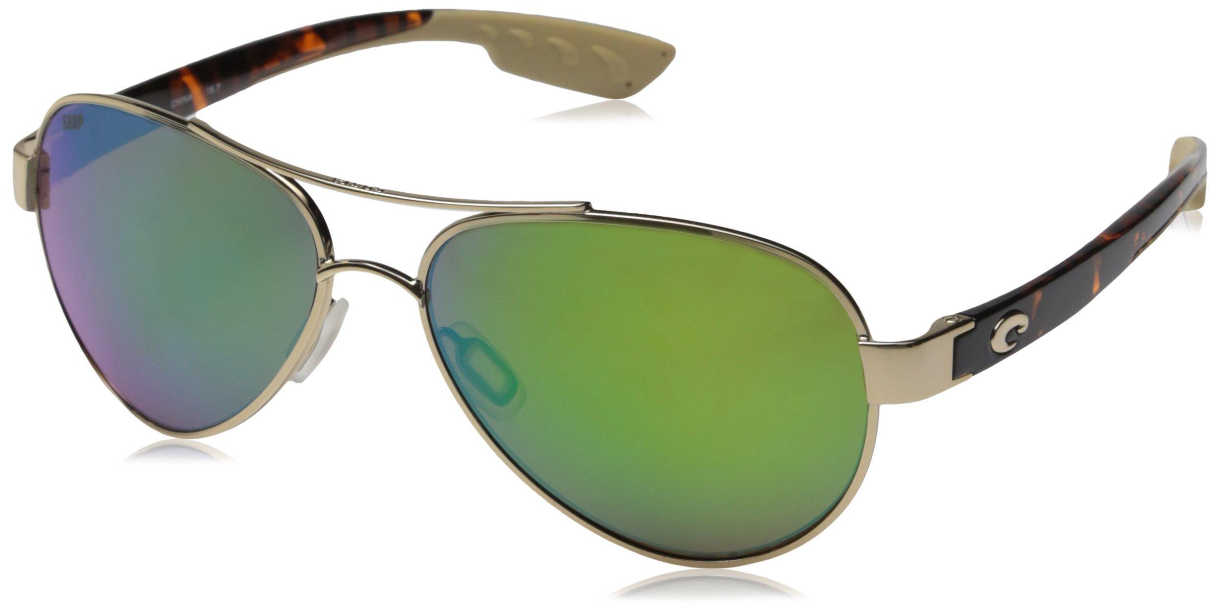 Costa del Mar Unisex-Adult Loreto LR 64 OGMP Polarized Iridium Aviator Sunglasses, Rose Gold, 56.5 mm by Costa del Mar