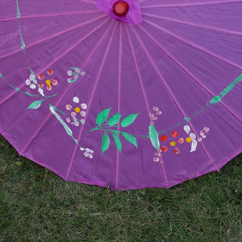 Homyl Pieces of 2 Elegant Women Wooden Handle Cloth Floral Umbrella Dance Prop Rose Red+Purple by Homyl (Image #8)