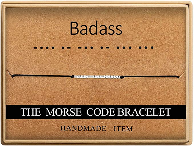 special word Morse code friend gift secret message anniversary gift wedding gift reminder gift, adjustable bracelet cuff