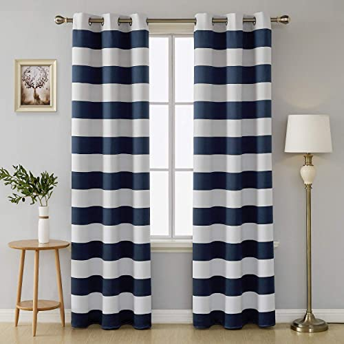 Deconovo Navy Blue Striped Light Filtering Curtains Grommet Nautical Navy and Greyish White Striped Curtains for Kids Room 42W X 84L Navy Blue