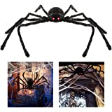 bestomz giant halloween spider 125cm with led eyes spooky sound foldable outdoor spider decorations - Halloween Spider Decoration