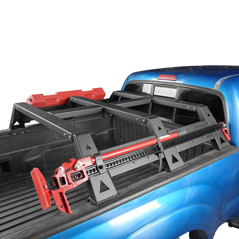 Hooke Road 2 Gen Tacoma Truck Bed Rack, Hi Lift Jack Brackets Spare Tire  Load Rack for 2005-2015 Toyota Tacoma