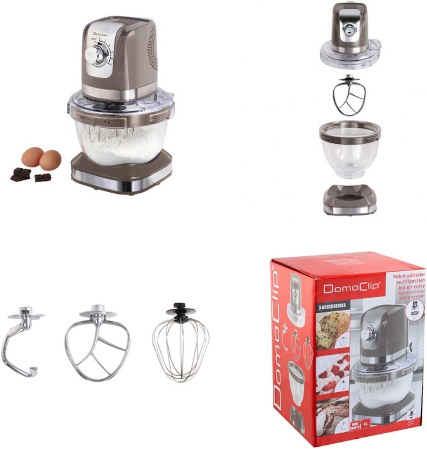 Robot de cocina con recipiente de cristal (4 litros (– Amasadora, amasadora, batidor, para mezclar Ganchos, ganchos para amasar, 600 W, Gris): Amazon.es: Hogar