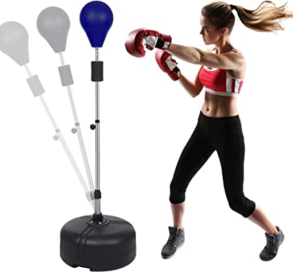 Boxing Punching Bag with Stand Reflex Speed Bag Freestanding Height Adjustable Indoor /& Outdoor Training /& Fitness for Adults /& Teens