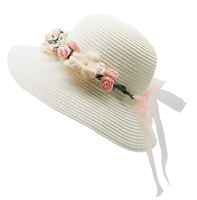 1930s Style Hats | Buy 30s Ladies Hats Lovful Fashion Flower Décor Lace Ribbon Wide Brim Caps Summer Beach Sun Protective Hat Fedora Straw Hats for Women $13.99 AT vintagedancer.com