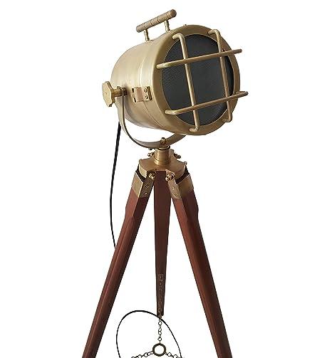 Amazon.com: Lámpara de pie náutica de latón macizo con ...
