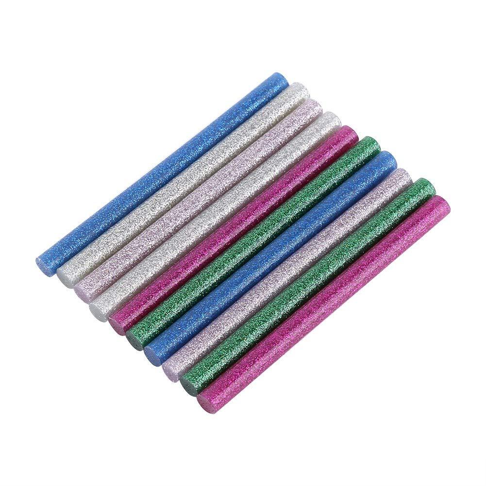Mélanger les paillettes de couleur chaude fondre bâton de colle fondre à chaud colle adhésive bâton 7 x 100mm multicolore bâtons de colle colorée mini pour l'artisanat de bricolage 10pcs GLOGLOW