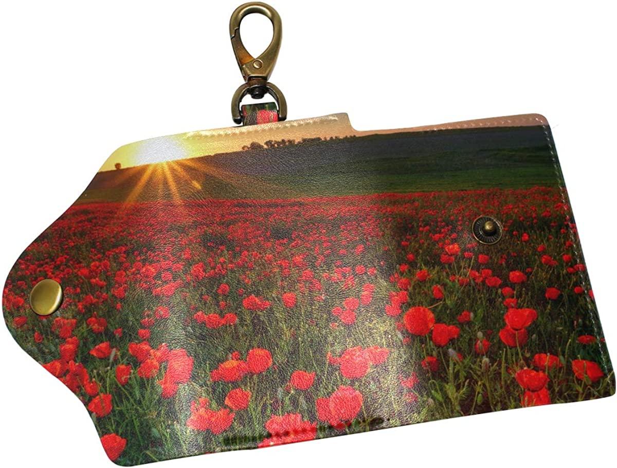 KEAKIA Red Poppies Leather Key Case Wallets Tri-fold Key Holder Keychains with 6 Hooks 2 Slot Snap Closure for Men Women