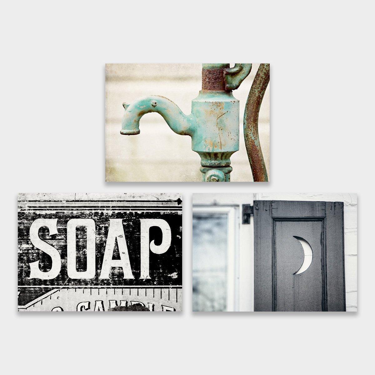 Farmhouse Bathroom Art Set of 3 5x7'' Prints. Teal, Aqua, Black, Blue.