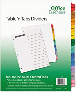 Office Essentials Table 'n Tabs Dividers, 12-Tab, Letter, 24 Packs (11679)