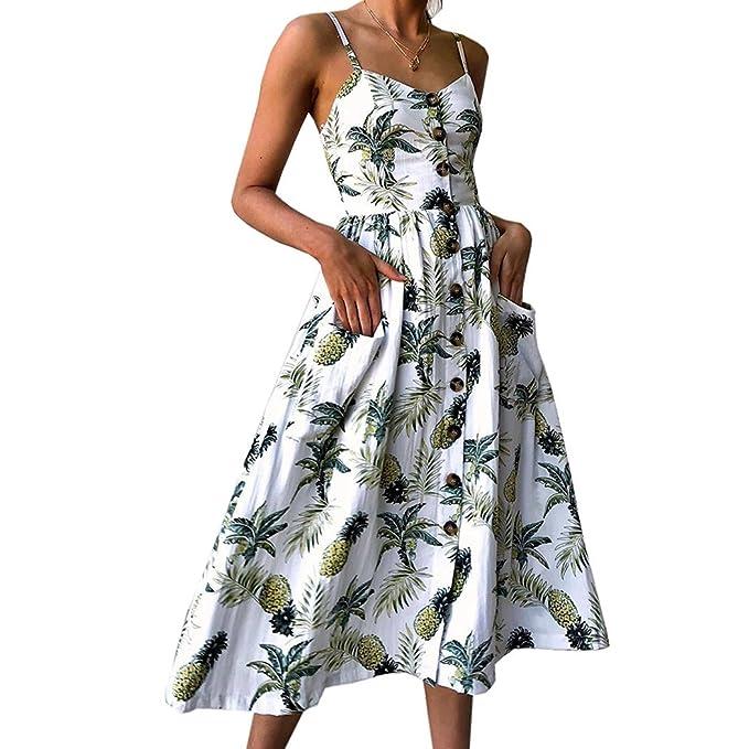 Vestido de mujer, Lananas Mujeres 2018 Verano Sin mangas Sexy con cuello en V Piña impresa playa Botón Camisola Vestir: Amazon.es: Ropa y accesorios