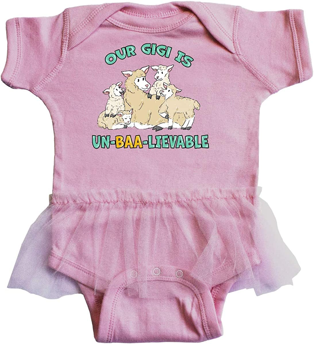 inktastic Our Gigi is Un-BAA-lievable with Cute Sheep Infant Tutu Bodysuit