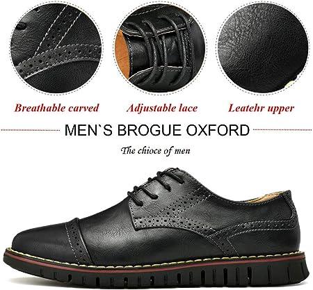 MoodengBrogue Oxford con Cordones,Zapatos de Cuero Hombre Negocios Vestir Derby Informal Boda Calzado Mocasines Zapatos Casuales Holgazanes