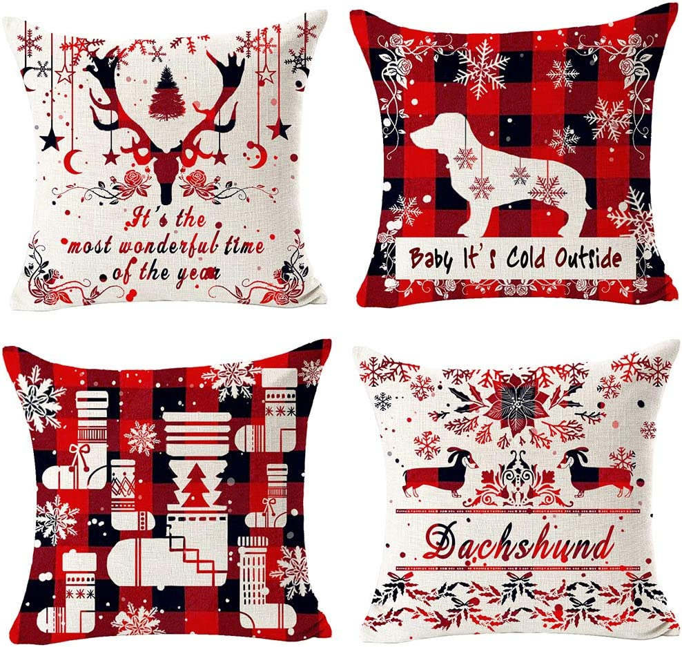 12x20, 1 Merry Christmas Happy New Year Star Pine Tree Pattern Cotton Linen Square Throw Waist Pillow Case Decorative Cushion Cover Pillowcase Sofa 12x 20