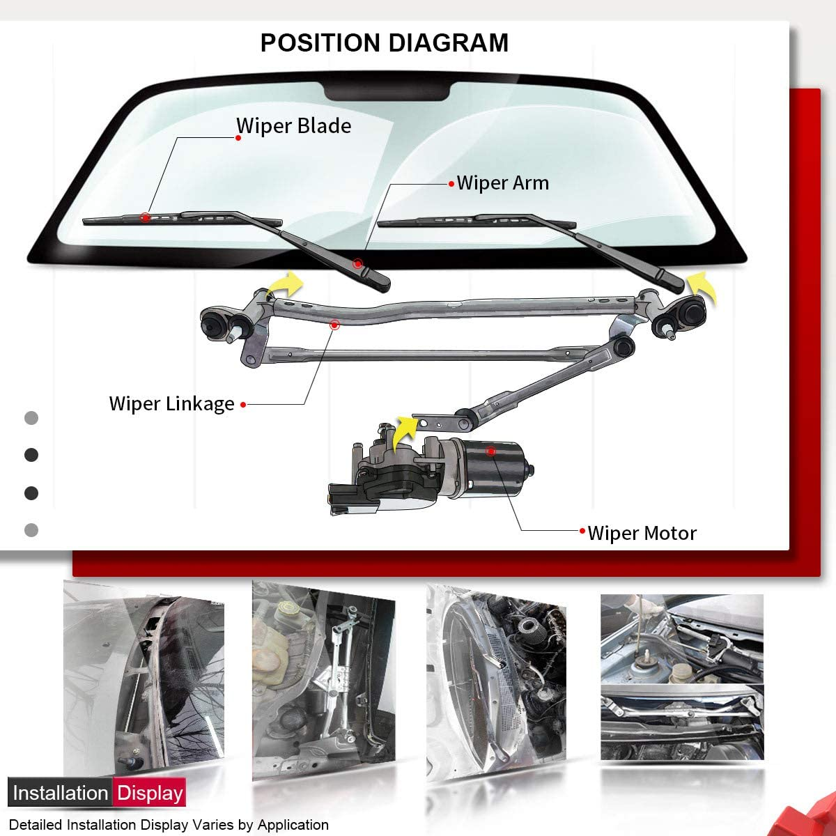 A-Premium Windshield Wiper Transmission Linkage Replacement for Lexus LX470 Toyota Land Cruiser 1998-2007 Front