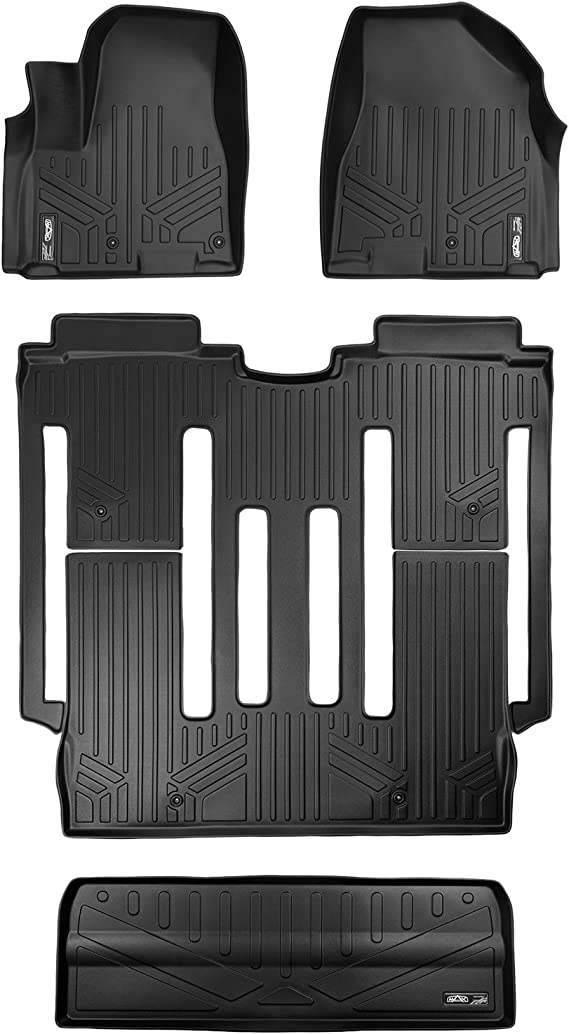 MAXLINER Floor Mats and Cargo Liner Behind 3rd Row Set Black for 2015-2018 Kia Sedona 8 Passenger Model Only