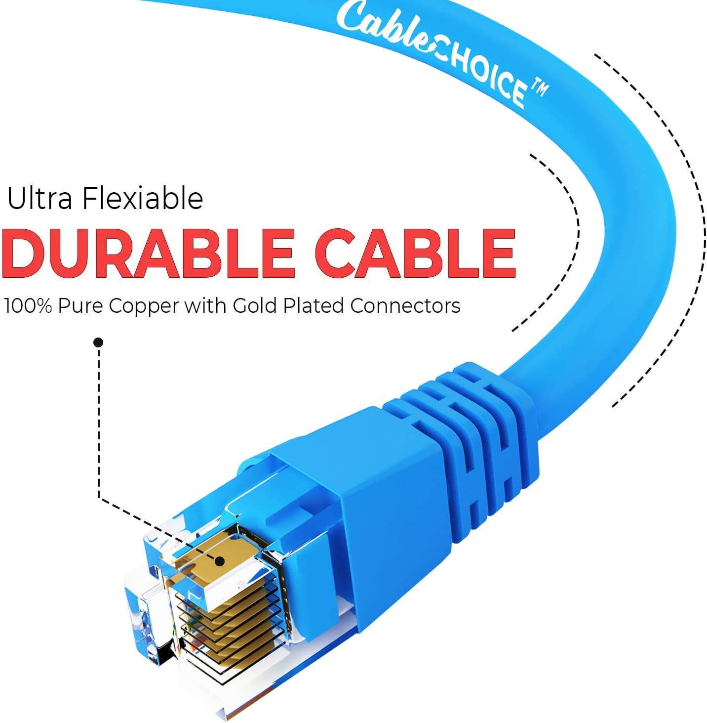 Cat5e Ethernet Cable UTP RJ45 10Gbps High Speed LAN Internet Patch Cord Computer Network Cable with Snagless Connector CABLECHOICE 5-Pack Available 28 Lengths and 10 Color 6 Feet - Orange