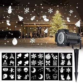 01c2c6dd3 COOSA Christmas Projector Light Multicolor Slides Patterns Rotating Film  LED Light