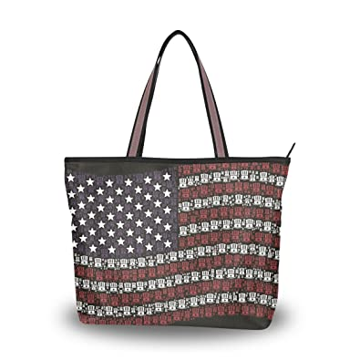 Tote Bag American Flag Uncle Sam Hat Shoulder Handbag Travel Beach Bags  With Zipper Closure 7ecb63435
