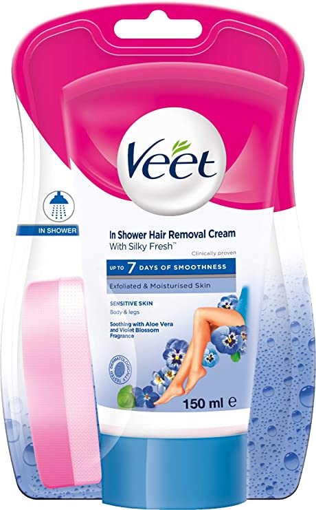 Buy Veet In Shower Hair Removal Cream Sensitive Skin 150 Ml