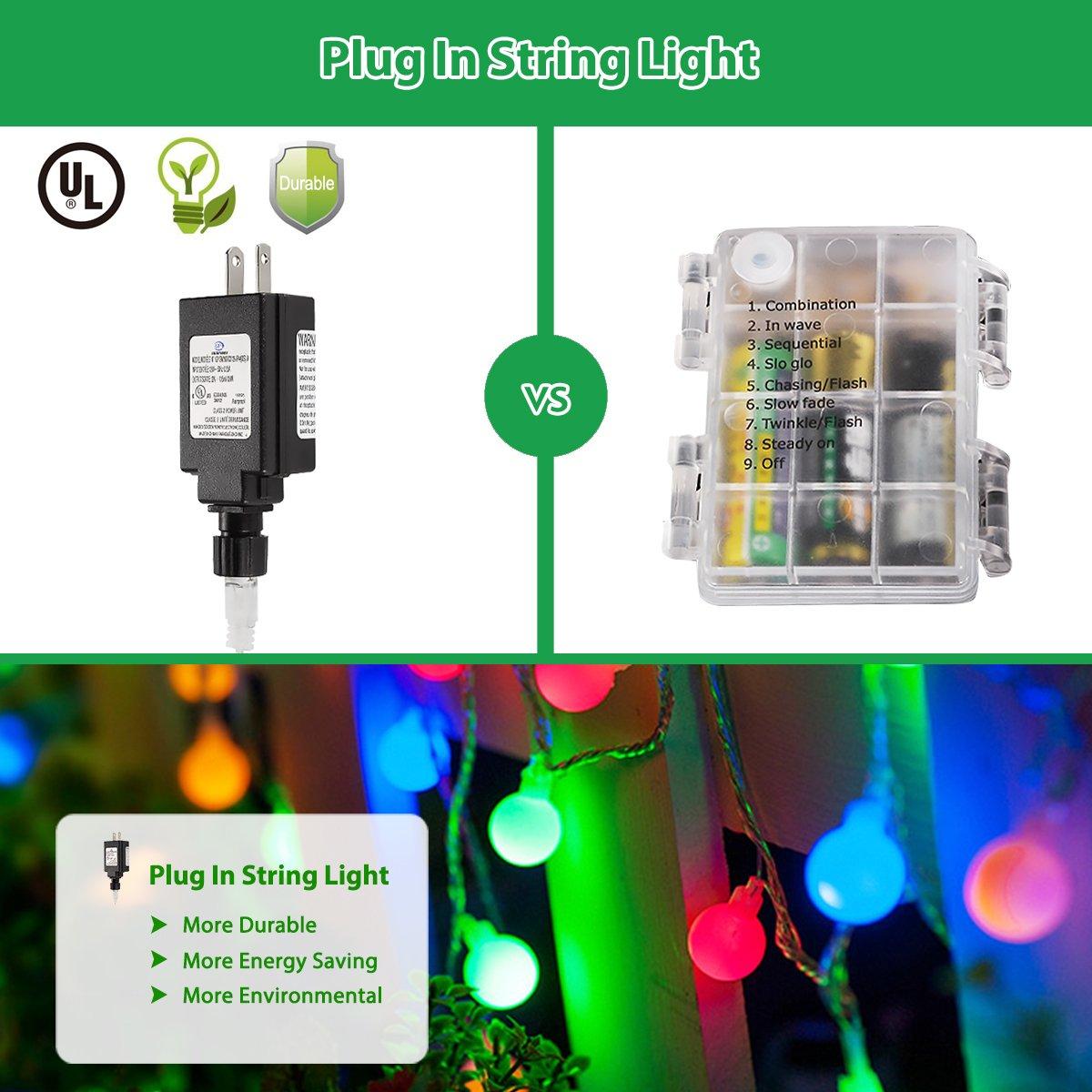 globe string lights 100 led colored fairy lights waterproof string rh amazon com