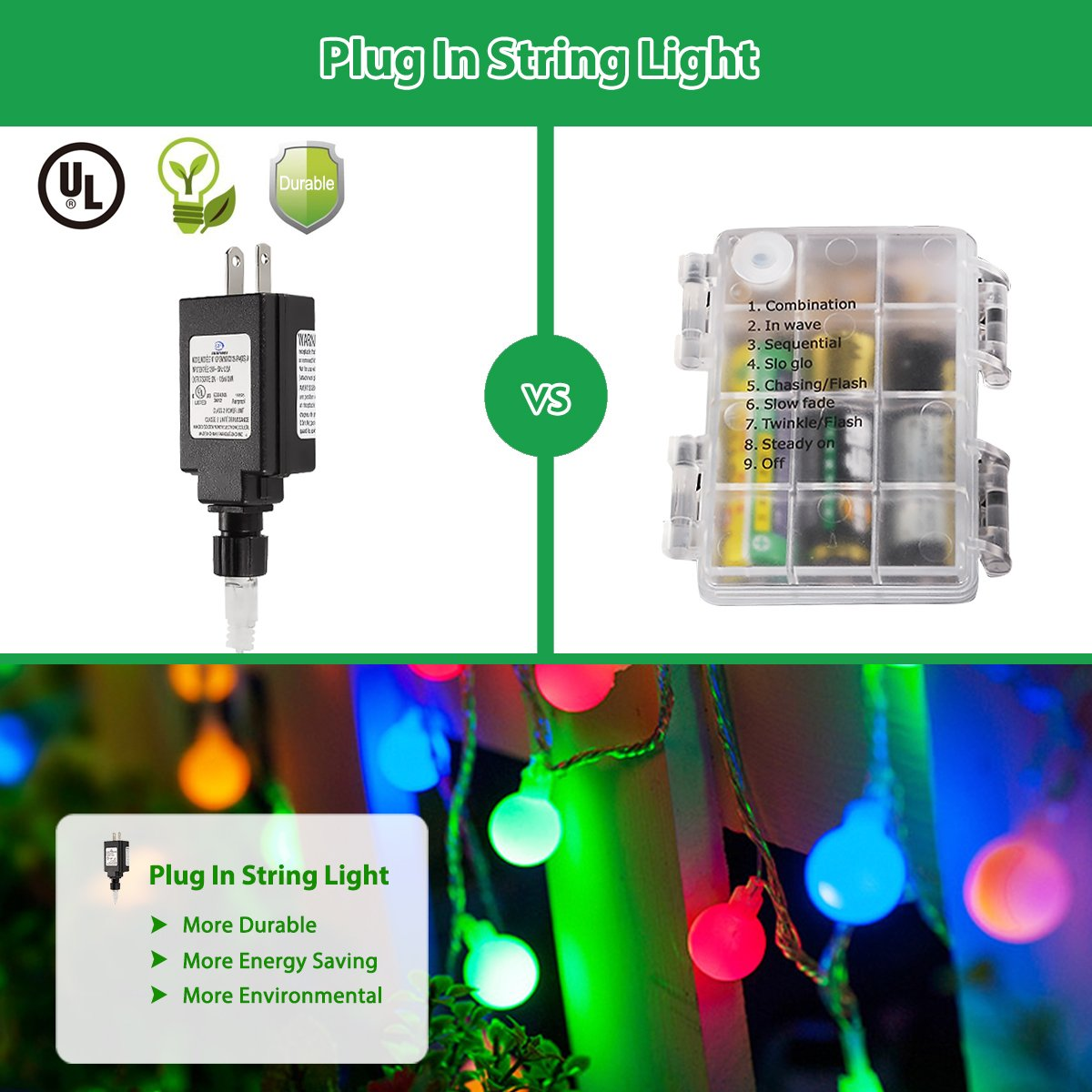 Globe String Lights, 100 LED Colored Fairy Lights Waterproof, String Lights Plug in, 44 Ft, Patio String Lights with Remote Control for Patio Garden Party Xmas Tree Wedding Decoration by Smart&green Lighting (Image #3)
