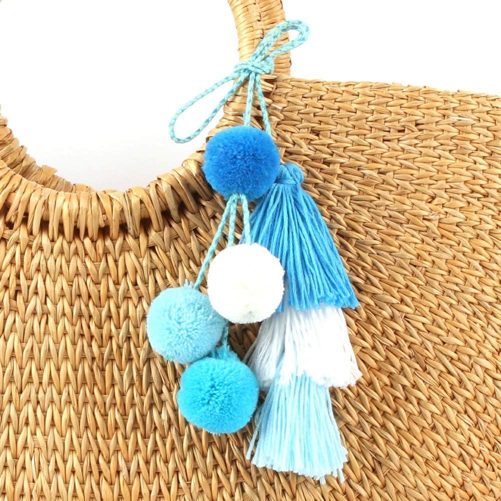 borla acodada con la cadena Pom Poms llavero bolso colgante decoraci/ón DZH Enjoy Borde hecho a mano colorido del bolso de la borla para las mujeres