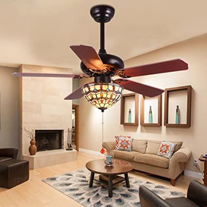 Tropicalfan Vintage Ceiling Fan With 1 Tiffany Cover Home Decoration Living  Room Bedroom Quiet Fans Chandelier