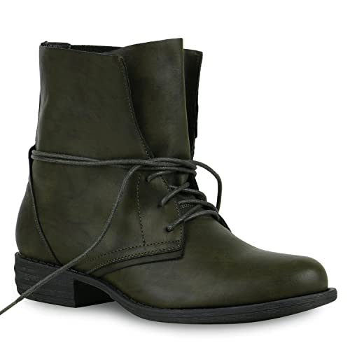 968bab999712 Stiefelparadies Women s Combat Boots Green Size  3 UK