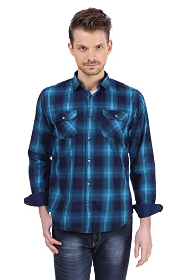 f133337cee43 BERGAMO Men's Cotton Casual Shirt - Denim Checkered - Slim Fit - Full Sleeves  Shirt (