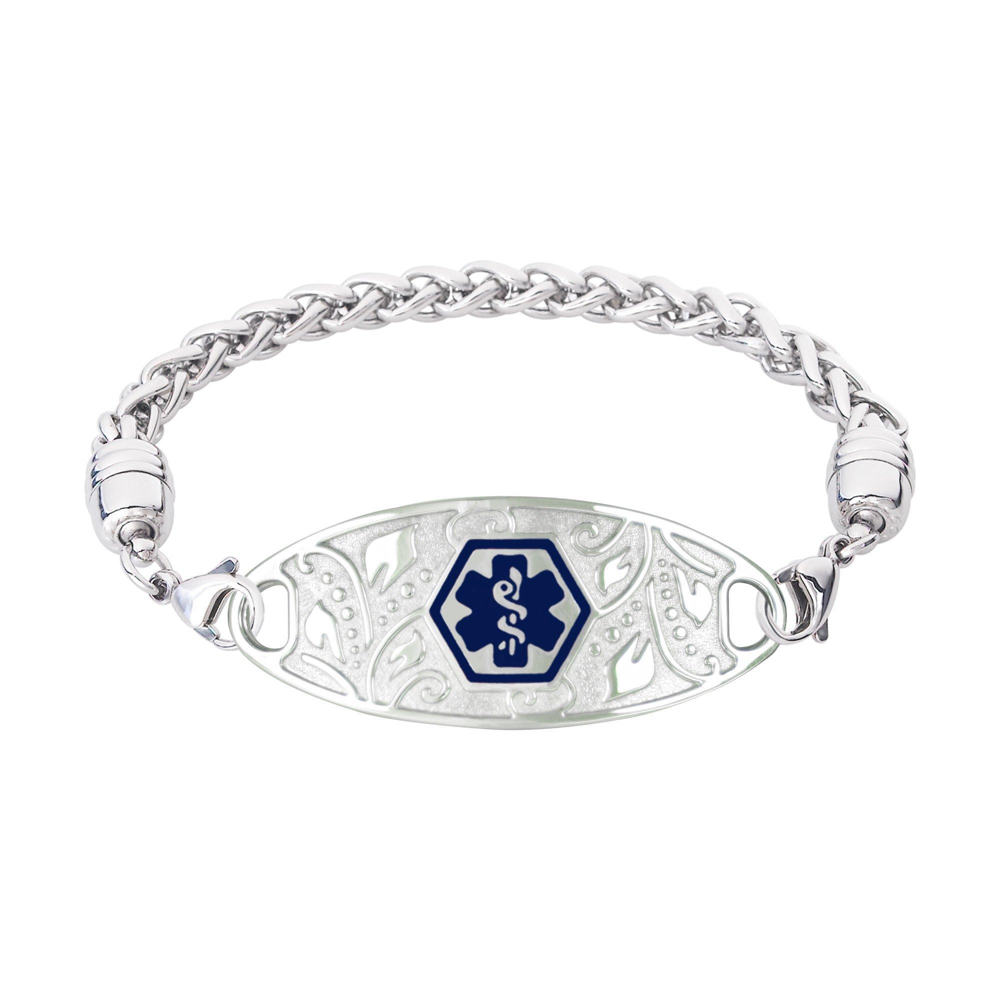 Divoti Custom Engraved 316L Lovely Filigree Medical Alert Bracelet for Women w/Stainless Wheat Chain -Deep Blue-7.5''