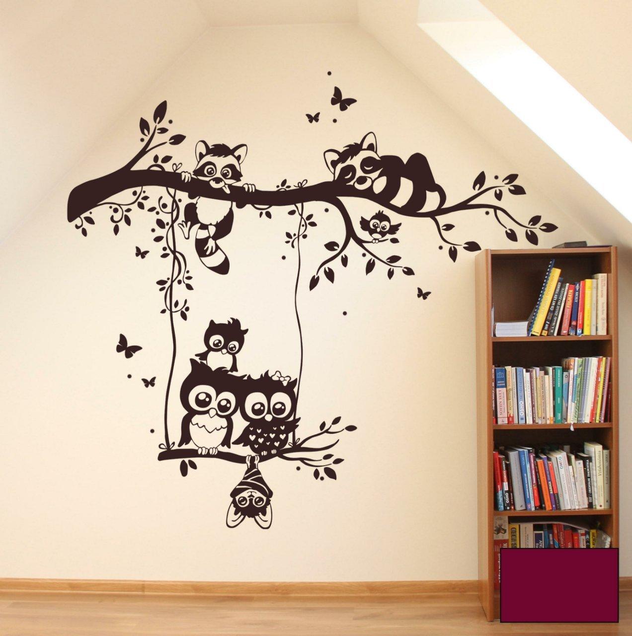 Wandtattoo Wandaufkleber Eulen Waschbären auf Zweig AST Eulenwandtattoo M1545 - ausgewählte Farbe  Beere - ausgewählte Größe  XXL 140cm breit x 123cm hoch