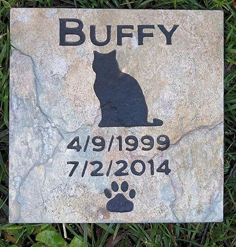 Amazon.com: Cat Memorial Stone, Cat Memorials, Memorial Gifts, Pet Loss Sympathy Gifts. Garden Stone Memorials. Personalized 6 x 6 Slate: Handmade