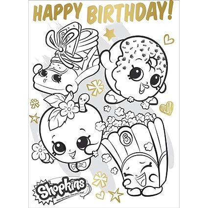 Shopkins - Juego para colorear Fold Out Tarjeta de cumpleaños Póster ...