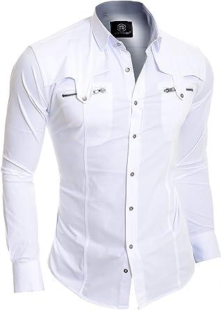 D&R Fashion Hombres de la Manera Adelgazan la Camisa con Bolsillos con Cremallera con Estilo: Amazon.es: Ropa y accesorios