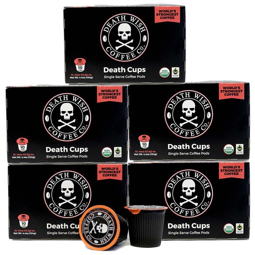 Death Wish Single Serve Coffee Pods for Keurig/K-Cup Style 2.0 Brewers, USDA Certified Organic & Fair Trade (50 Count Bulk Value)