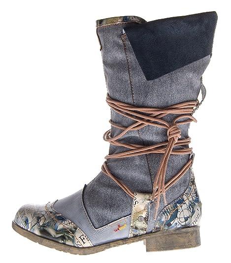 competitive price d17b7 30a2f TMA Damen Leder Winter Stiefel Comfort Boots 5561 Schuhe Schwarz Weiß Blau  Stiefeletten gefüttert
