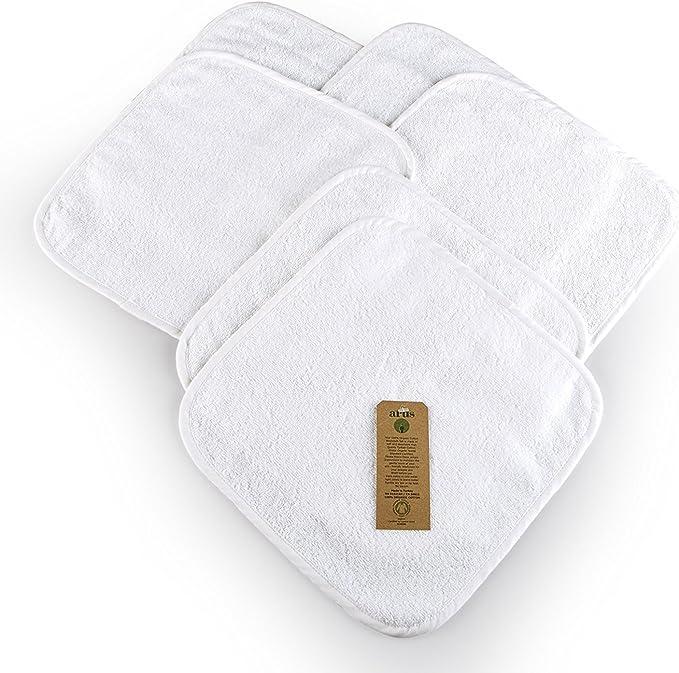 Blanc pour b/éb/é 100/% coton certifi/é biologique et certifi/é GOTS 30 x 30 cm 6 x d/ébarbouillettes