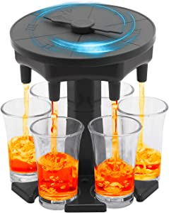 Shot Glass Dispenser with 6 Glasses and 12 Silicone plug,Shot Buddy Dispenser with Game Turntable for Dinner Party,Bar,Game (Gray) (gray)