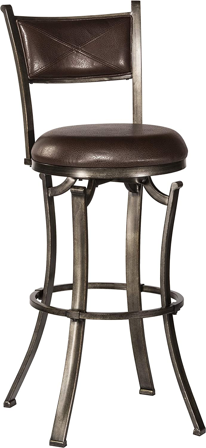 Hillsdale Furniture Drummond Counter Stool, Rubbed Pewter