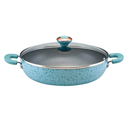 Paula Deen Signature Porcelain Nonstick 12-Inch Covered Chicken Fryer, Aqua Speckle – 12506