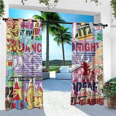 leinuoyi Grunge, arandela de Cortina para Exteriores, Colorido patrón Inspirado en Grafiti, diseño Moderno y Funky Urbano, Arte Urbano, Arte Urbano, para pérgola: Amazon.es: Jardín
