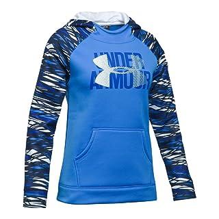 Under Armour Girls' Armour Fleece Big Logo Printed Hoodie, Mako Blue /White, Youth Large