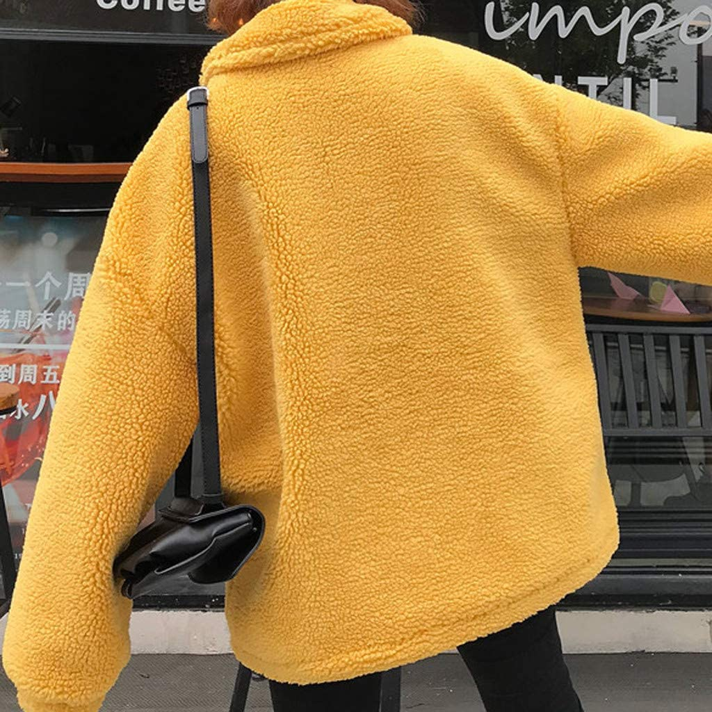 Loveso Womens Coat Solid Color Cashmere Coat Winter Warm Outwear Loose and Comfortable Jacket