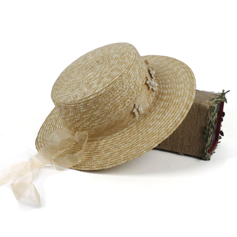 JIADUOBAOSEN Fashion Sun Hat for Lady Summer Beach Flat Sunbonnet Wide Brim Pork Pie Hat with Handmade Flower