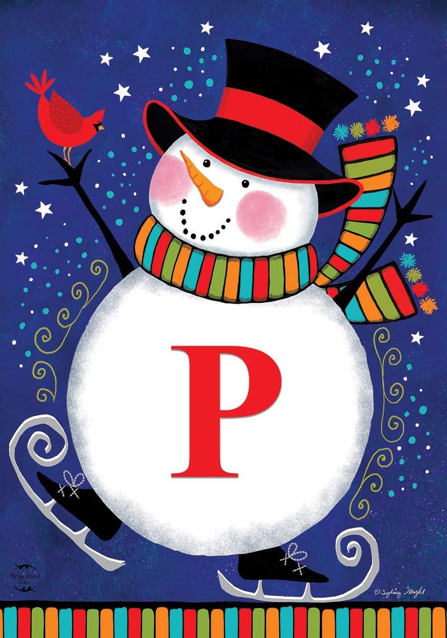 "Briarwood Lane Winter Snowman Monogram Letter P Garden Flag 12.5"" x 18"""