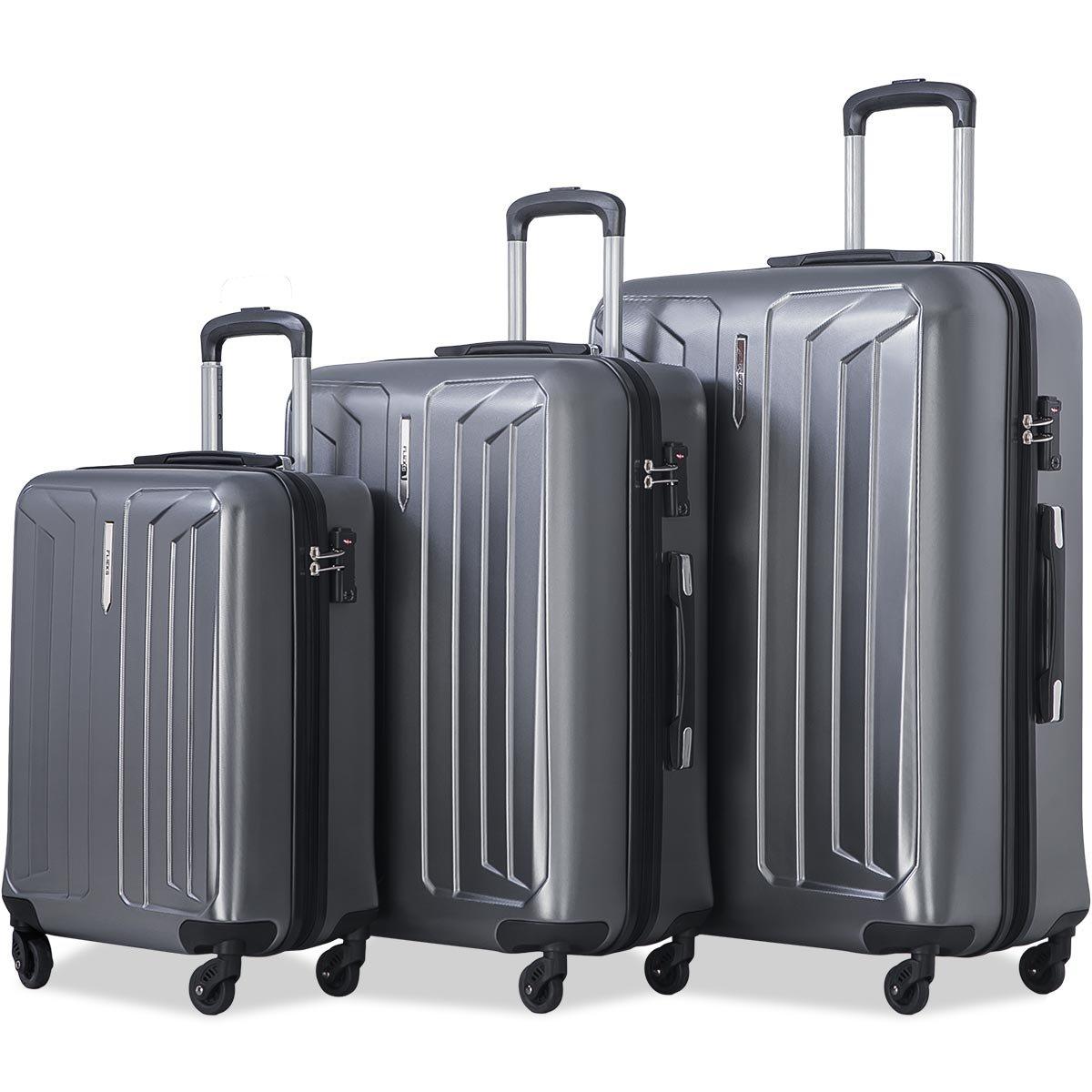 Flieks Luggage 3 Piece Sets Spinner Suitcase with TSA Lock, Lightweight 20 24 28 in (Grey)