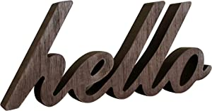 CVHOMEDECO. Rustic Vintage Distressed Wooden Words Sign Free Standing Hello Tabletop/Shelf/Home Wall/Office Decoration Art, 10-1/2 x 4-1/2 x 1 Inch