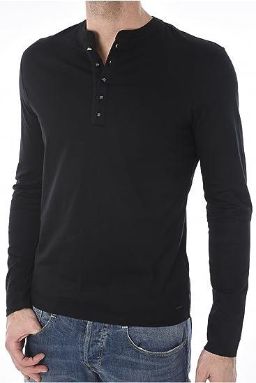 e1df8ad58d07c Guess T-Shirt Homme Manches longues Billy Henley Noir  Amazon.co.uk ...