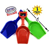 "Matty's Toy Stop 17"" Kids Sand Scoop Plastic Shovels for Sand & Beach (Red, Blue & Green) Complete Gift Set Bundle - 3 Pack"